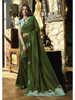 Dark Green Fancy Saree
