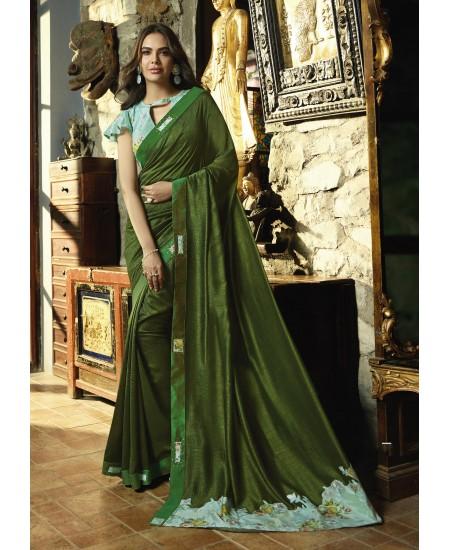 Dark Green Fancy Saree