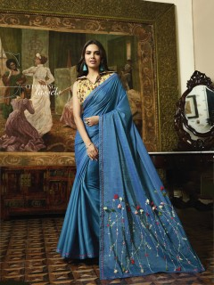 Ocean Blue  Fancy Saree