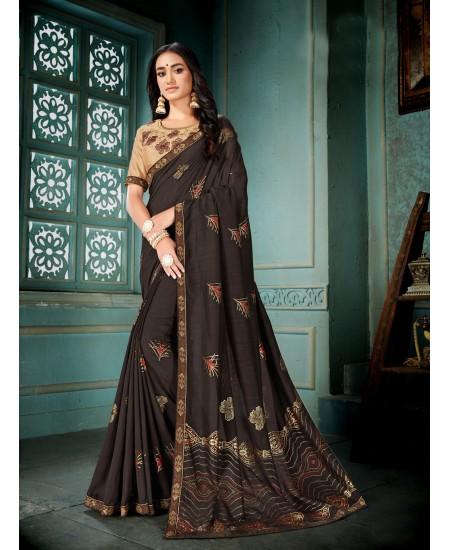 Brown Vichitra Silk Saree
