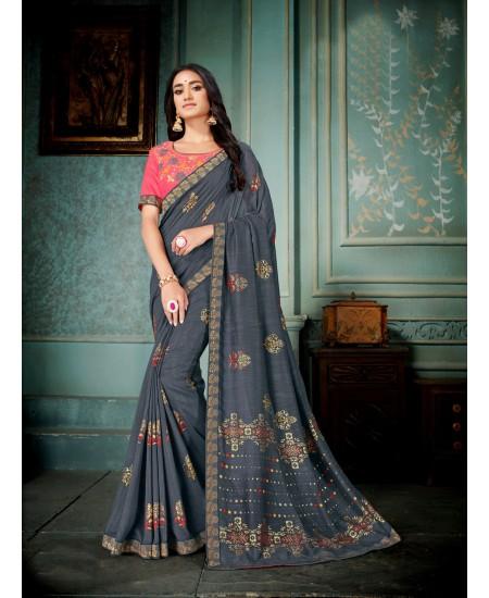 Grey Vichitra Silk Saree
