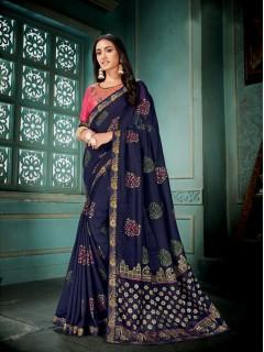 Navy Blue Vichitra Silk Saree