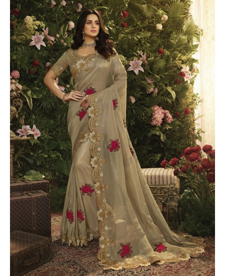Beige Fancy Fabric Saree