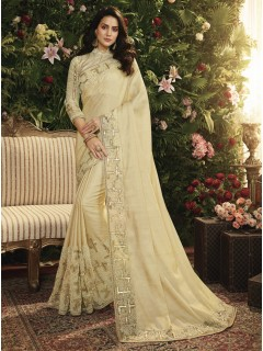 Cream Fancy Fabric Saree