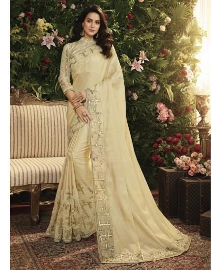 Cream Fancy Fabric Saree