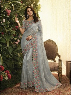 Grey Fancy Fabric Saree