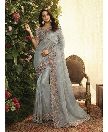Grey Fancy Fabric Saree