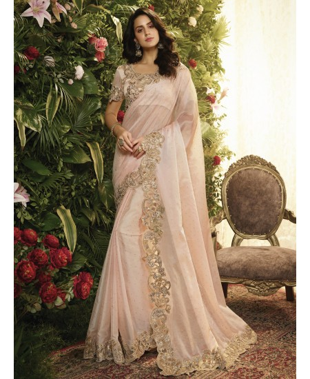 Light Pink Fancy Fabric Saree