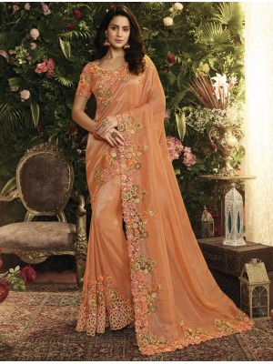 Orange Fancy Fabric Saree
