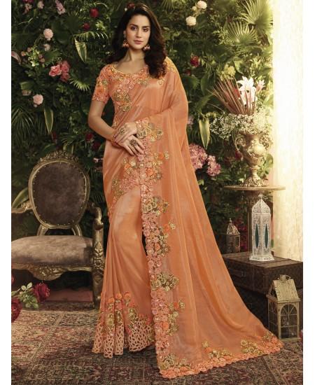 Orange Fancy Fabric Saree