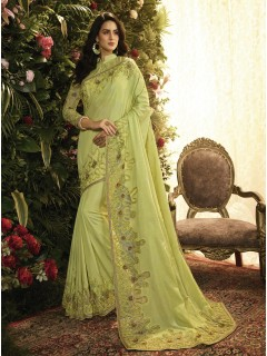 Pista Fancy Fabric Saree