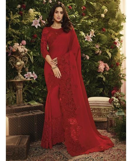 Red Fancy Fabric Saree
