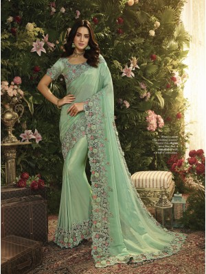 Sky Blue Fancy Fabric Saree