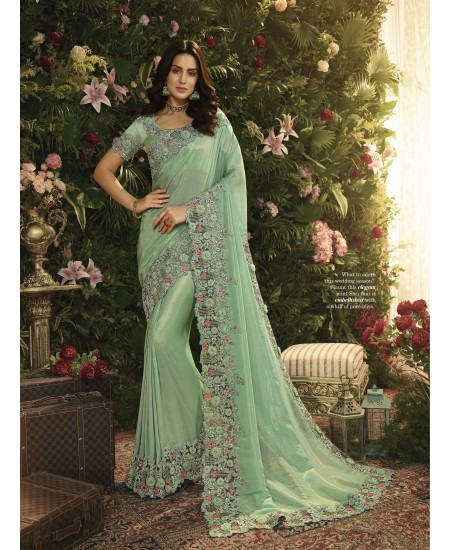 Sky Blue Fancy Fabric Saree