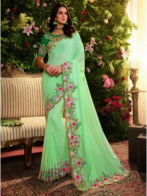 Sky Blue and Rama Fancy Fabric Saree