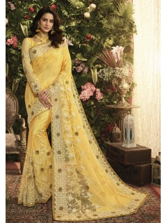 Yellow Fancy Fabric Saree