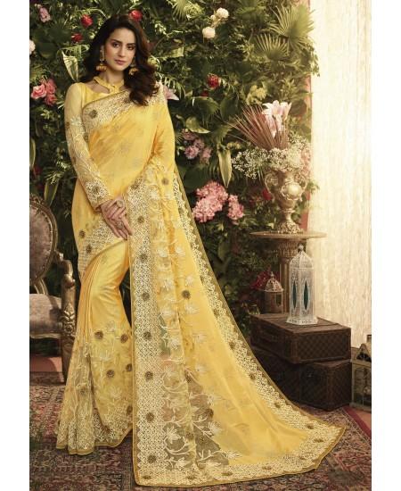 Yellow Fancy Fabric Saree