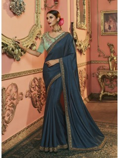 Cobalt Blue Dola Silk Saree