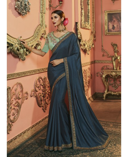Cobalt Blue Dola Silk Saree