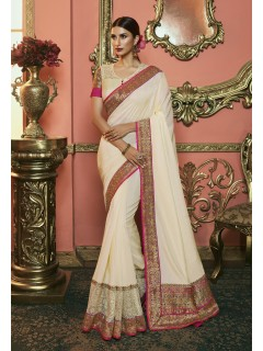 Cream Dola Silk Saree