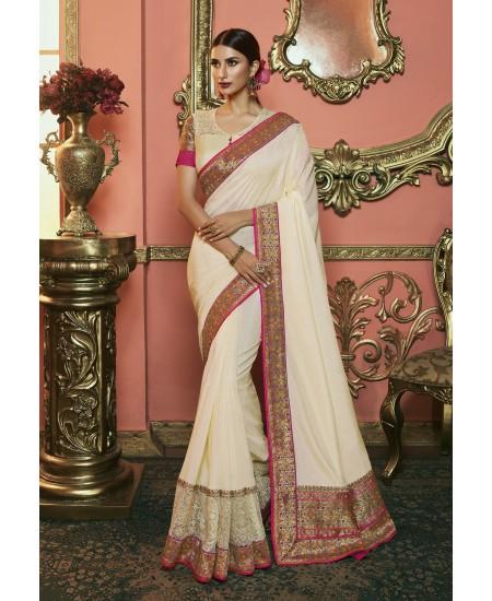 Cream Dola Silk Saree