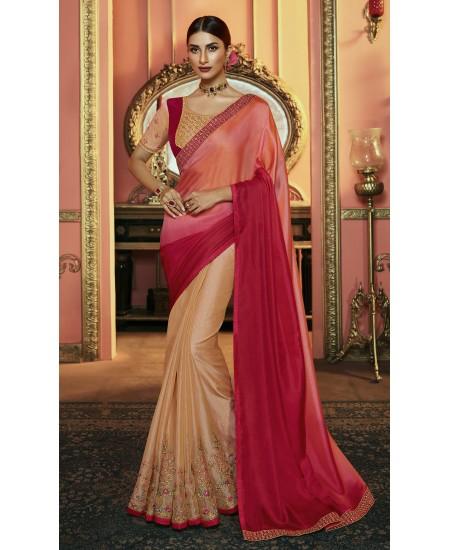 Rani & Peach Tissue Silk Saree