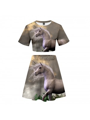 Unicorn Collection Women Top Skirt 2pcs Sets